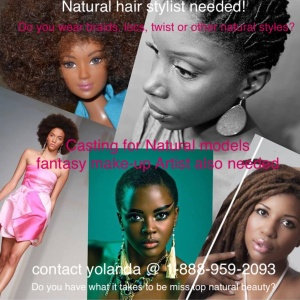 Casting call for models and natural hair salons.